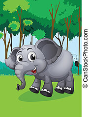 An elephant in the middle of the forest