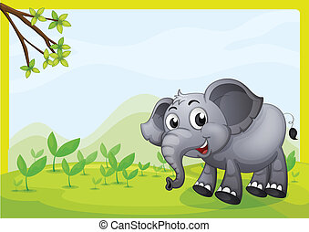 An elephant playing in the field