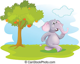 An elephant running near the orange tree
