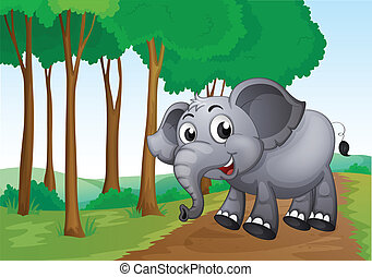 An elephant smiling at the forest