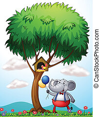 An elephant under the tree