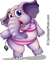 Illustration of an elephant wearing a bikini on a white background