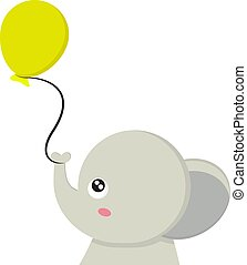 An elephant with a balloon, vector or color illustration.
