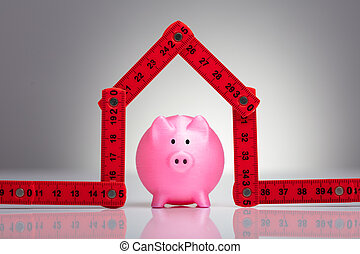 Piggybank Under The House Made With Measuring Tape