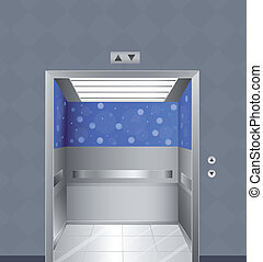 An elevator - Illustration of an elevator in a building