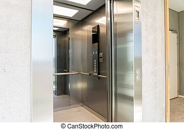 An elevator in the hall