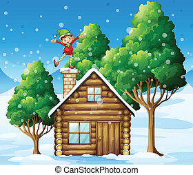 An elf above the wooden house near the trees - Illustration...