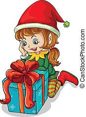 An elf beside a gift - Illustration of an elf beside a gift...