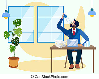 An employee takes anabolics, drinks vitamins for work. In minimalist style Cartoon flat raster Illustration