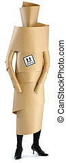 an employee,woman,staff member wrapped in brown paper ready for an office move isolated on a white background