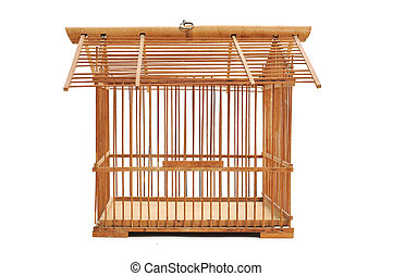 an empty bamboo birdcage on a white background