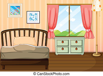 An empty bedroom - Illustration of an empty bedroom