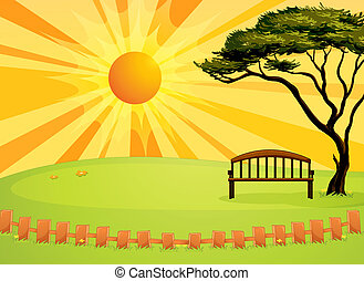 Illustration of an empty bench