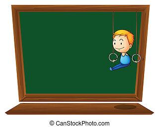 An empty blackboard with a boy hanging