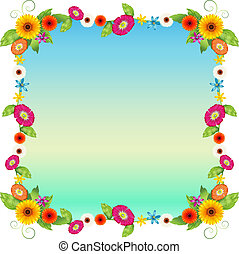 An empty blue template with colourful flowers