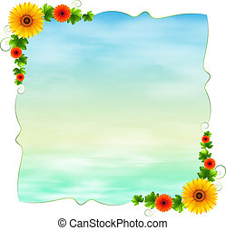 An empty blue template with flowers