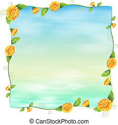 An empty blue template with yellow flowers
