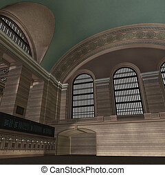 An Empty Central Station. 3D rendering with clipping path and shadow over white