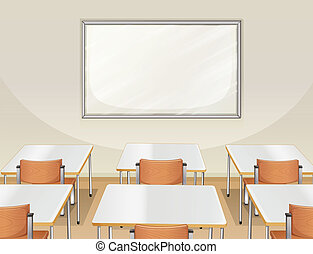 An empty classroom - Illustration of an empty classroom with...