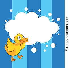 An empty cloud template with a yellow chick