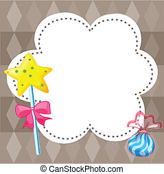 An empty cloud template with candies - Illustration of an...