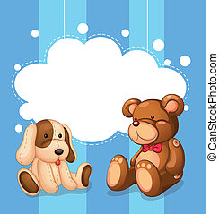 Illustration of an empty cloud template with stuffed toys