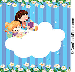 An empty cloud template with two girls reading