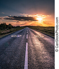 an empty country road leading to a sunset and light rays
