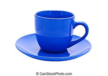 empty dark blue cup