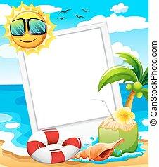 An empty frame at the beach