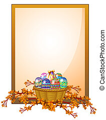 An empty frame signage with a basket of eggs - Illustration...