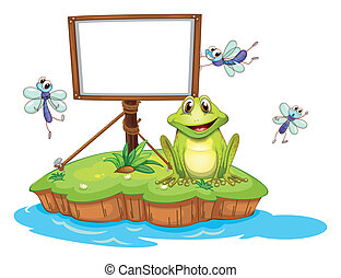 Illustration of an empty framed signboard with an animal and insects on a white background