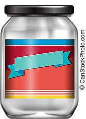 An empty jar with label
