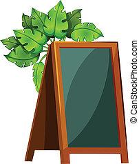 An empty menu board with plants