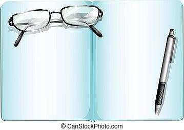 An empty notebook with an eyeglass and a pen