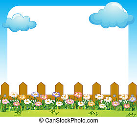 An empty paper template with a garden and clouds