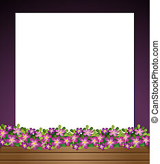 An empty paper template with a garden at the bottom