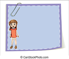 An empty paper template with a young girl smiling