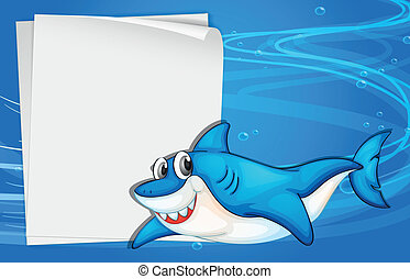 An empty paper under the sea beside a shark