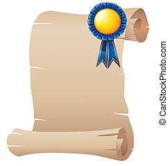 An empty paper with a blue ribbon