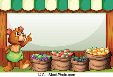 An empty rectangular template with a bear selling fruits -...