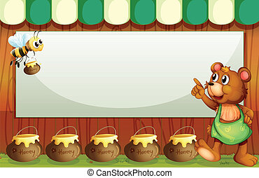 An empty rectangular template with a bee and a bear -...