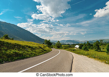 An empty road in the mountains of Montenegro