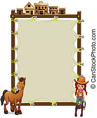 An empty signage with a cowgirl and a horse - Illustration...
