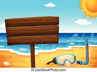 An empty signboard at the beach