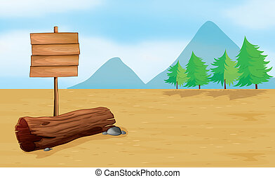 An empty signboard - Illustration of an empty wooden...