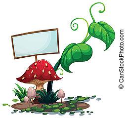 An empty signboard near the red mushroom