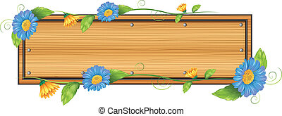 An empty signboard with flowers
