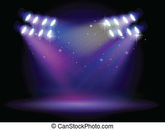 An empty stage with lights