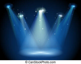 An empty stage with spotlights - Illustration of an empty ...